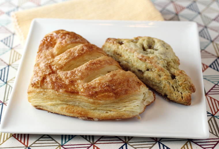Cheese danish (left) and chamomile-ginger scone (right).