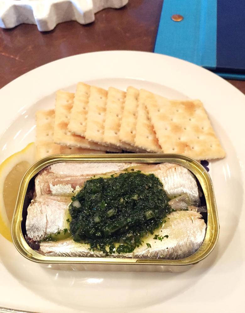 A fun little snack of Spanish sardines at Barnacle.