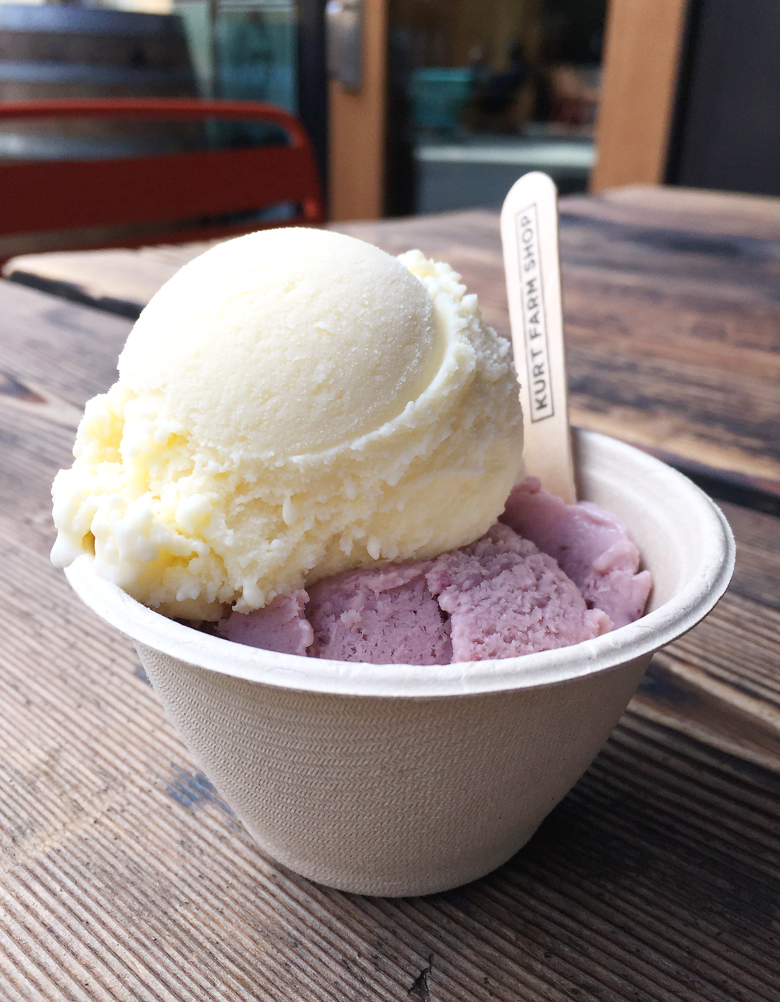 A scoop of cheese ice cream and blackberry ice cream at Kurt's Farm Shop.