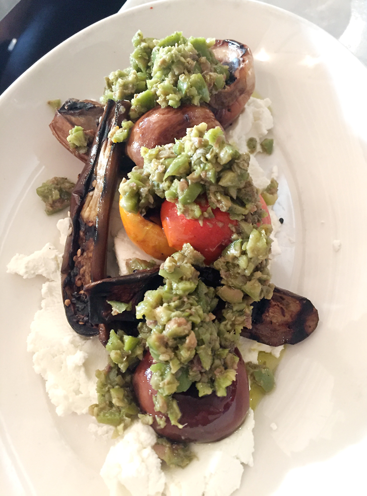 Grilled eggplant with ras el hanout, tapenade and chevre.