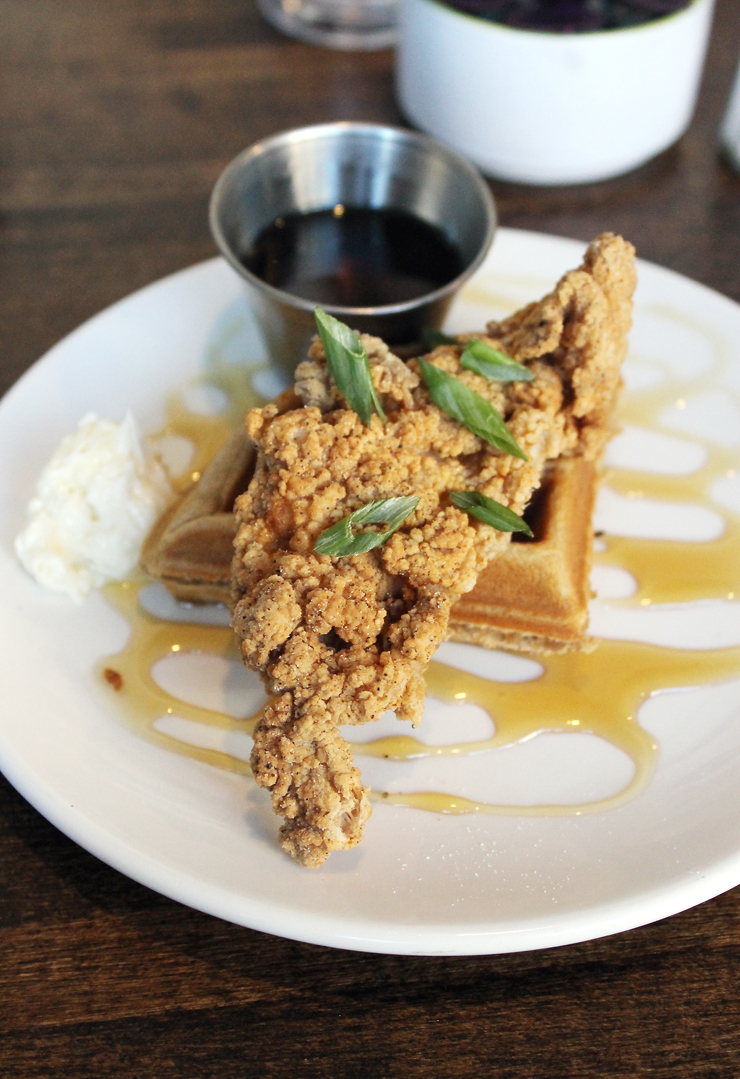 A tasting size of the fried chicken and waffles at Bruncheonette.