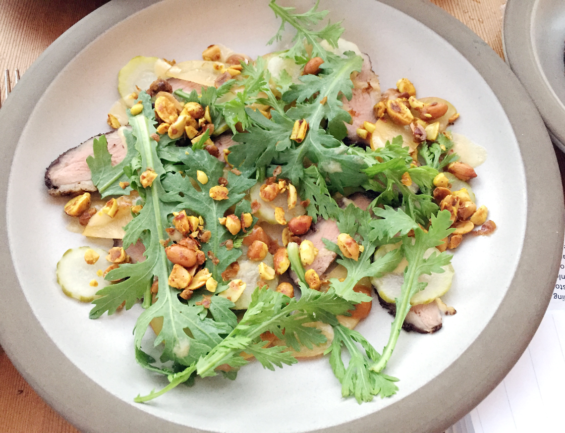 A duck salad with the most amazing Asian-influenced sauce.