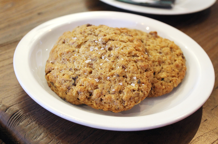 Oatmeal cookies made with plenty of butter and multiple grains that grow together in one field to encourage polyculture soil health.