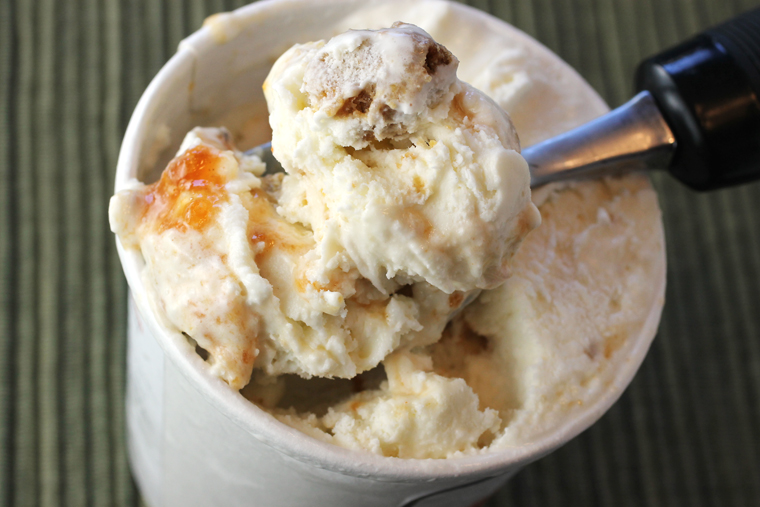 Salt & Straw's Roasted Peach & Sage Cornbread Stuffing ice cream.