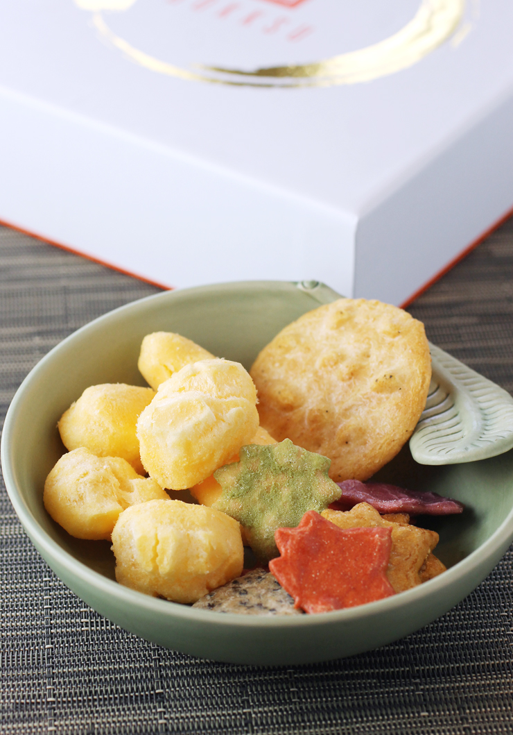 Rice crackers and cheese puffs are among the treats inside this Bokksu box.