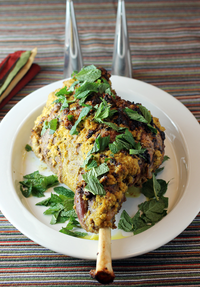 Roast leg of lamb with ginger, cardamom, turmeric and other fragrant spices.