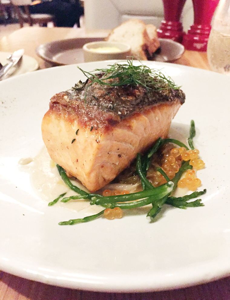A perfect dish of wild salmon at Limewood. (photo by Carolyn Jung)
