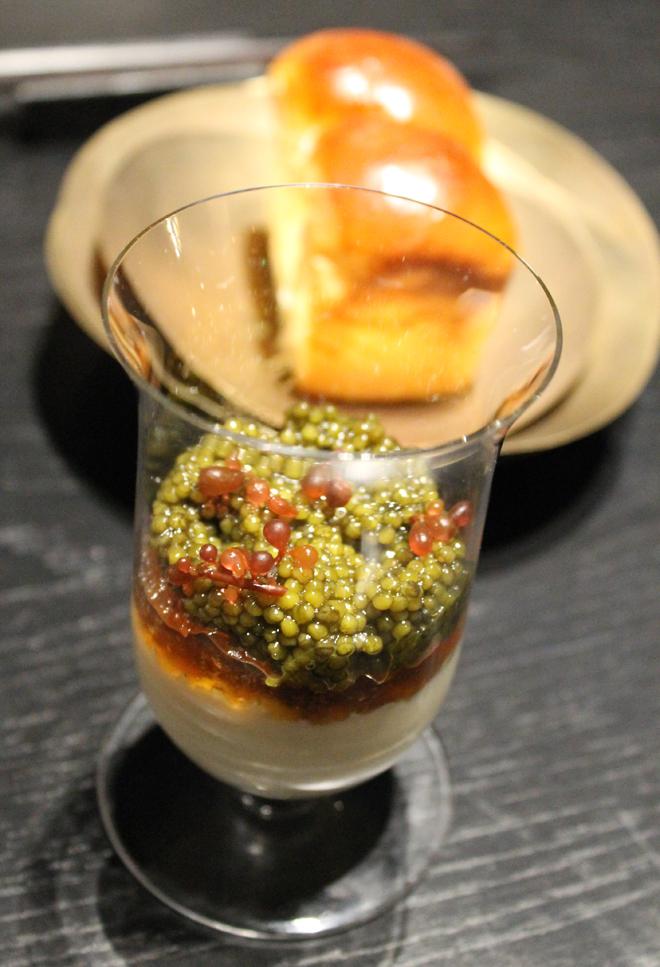 Caviar parfait and milk bread rolls.