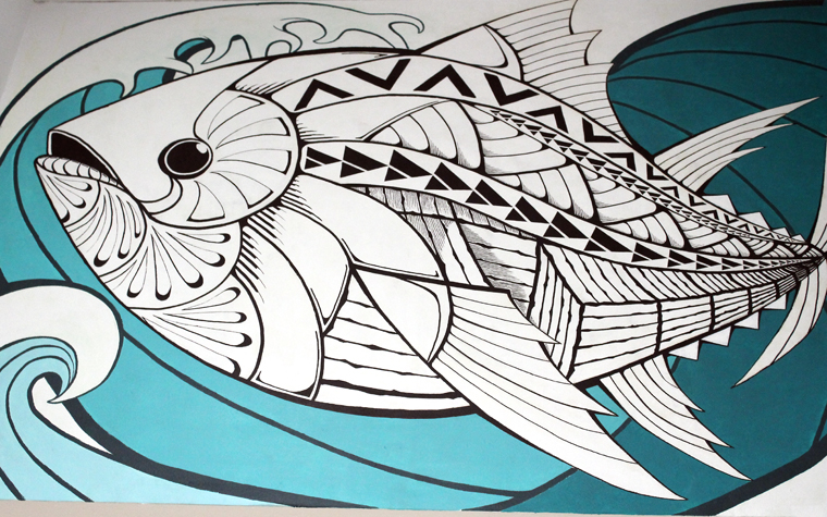 Hawaiian-inspired mural by artist Derrick Higa.