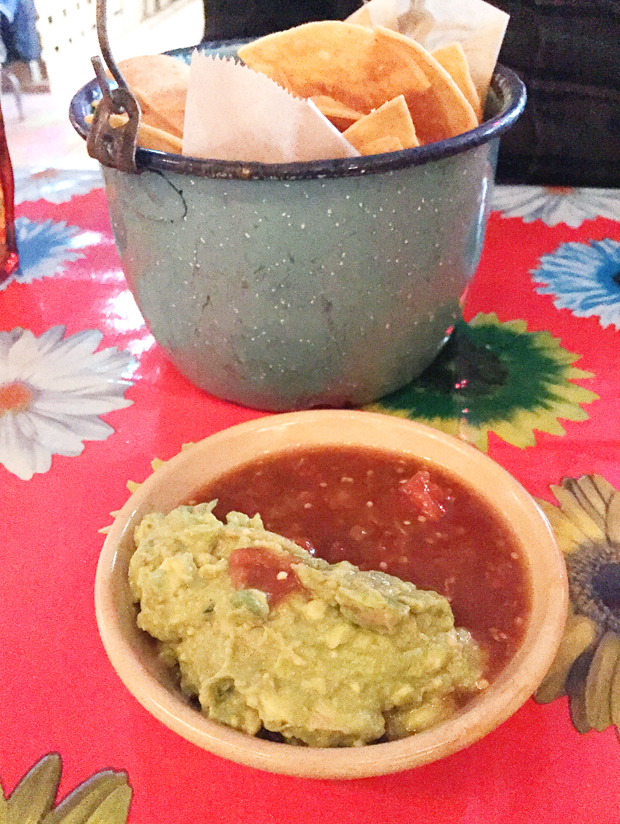 Chips, salsa and guacamole.