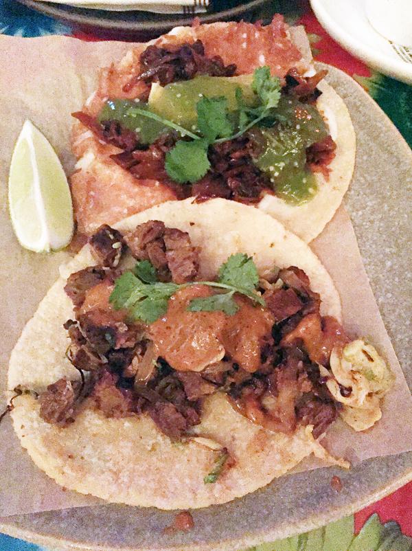 Maitake taco (top) and steak taco (bottom).