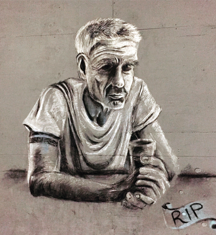 A tribute to the late-great Anthony Bourdain by Napa's Chalk Riot just steps away from the restaurant.