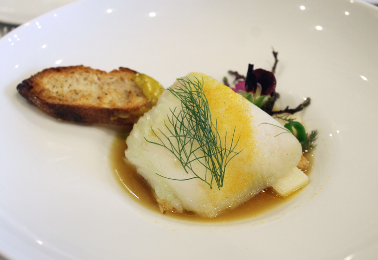 Halibut with white asparagus from the garden.