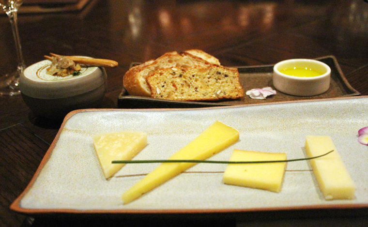 With a selection of cheeses.