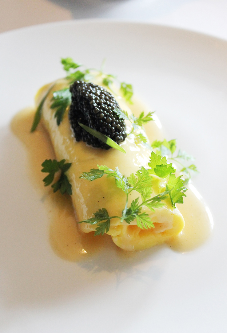 Start your Sunday with a French rolled omelet with caviar at the Village Pub.