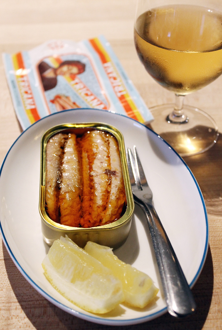 Portuguese mackerel conserva and a glass of natural wine make a perfect nosh at Verjus.