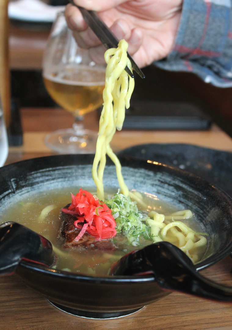 This is soba Okinawan-style -- yes, with egg wheat noodles -- at Izakaya Sushi Ran.