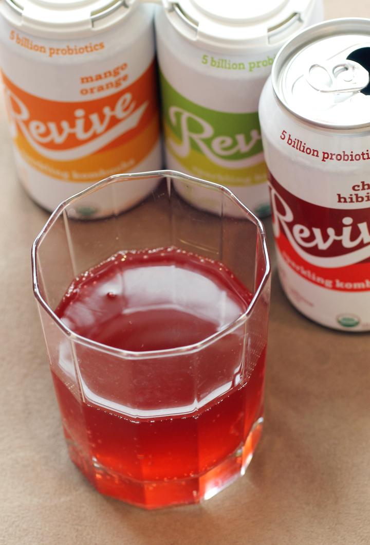 Revive Sparkling Kombucha's Cherry Hibiscus flavor.