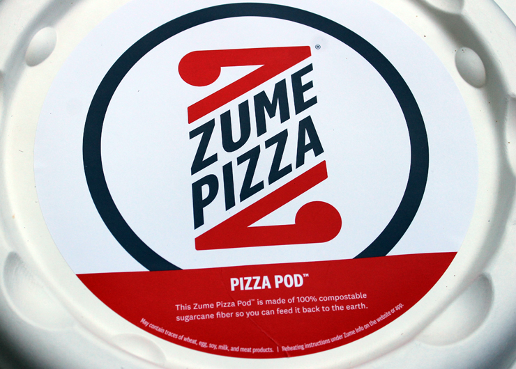 Zume's unusual circular pizza box.