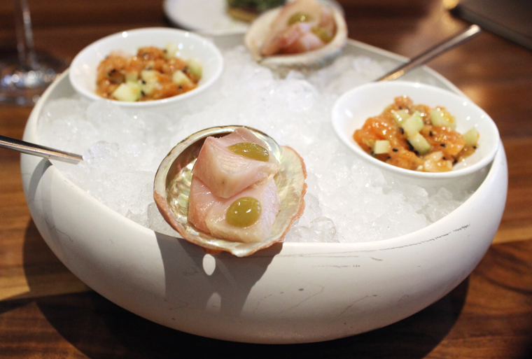 Ceviche and tartare over ice.