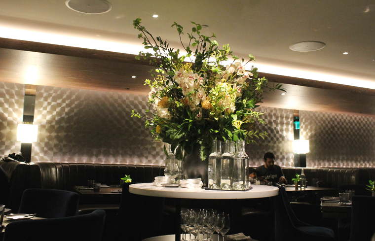 Like sister restaurant Trestle, The Vault has a huge display of fresh flowers as a focal point in the dining room.