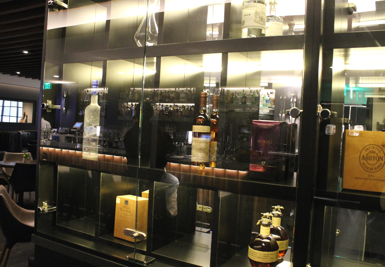 Private liquor lockers for patrons.