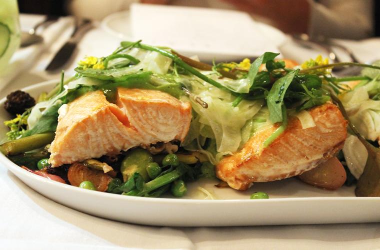 Smoked salmon with spring veggies.