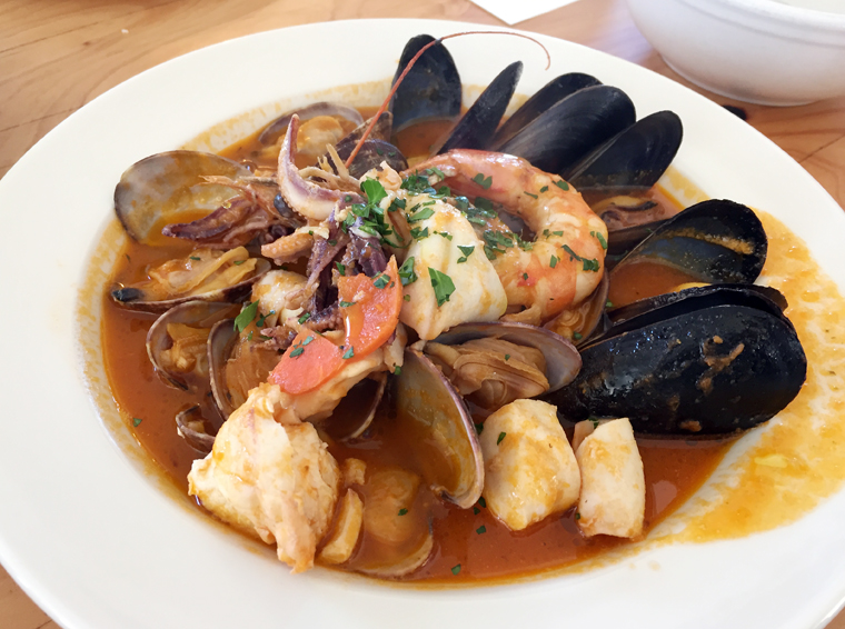 Seafood stew abundant with shrimp, clams, mussels and fresh fish.