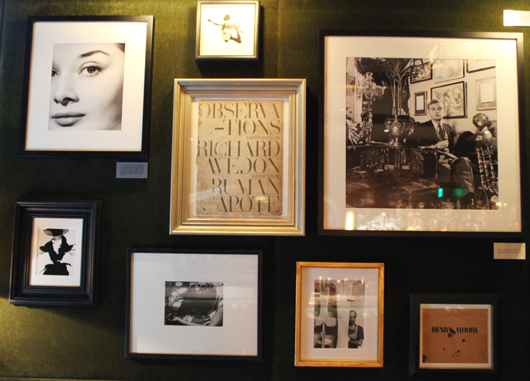 Audrey Hepburn's first commercial photograph hangs on the left.