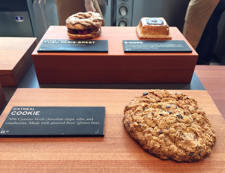 The modern looking bakery case.