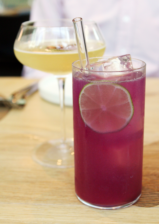 The Blue Flower Limeade (front) and the Rojana (back).
