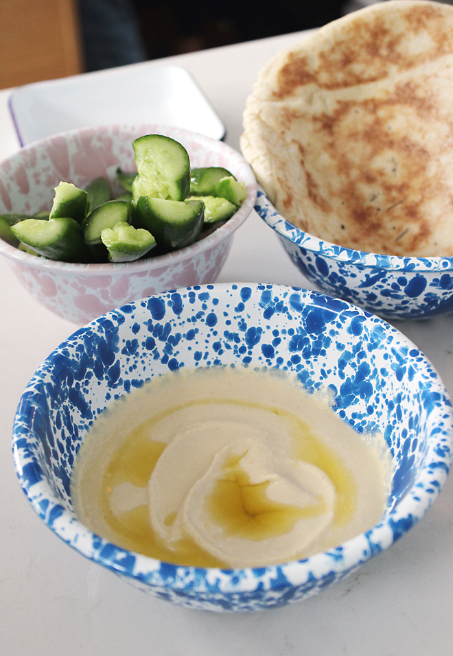 Cucumber spears and soft pita to dip into garlicky hummus.