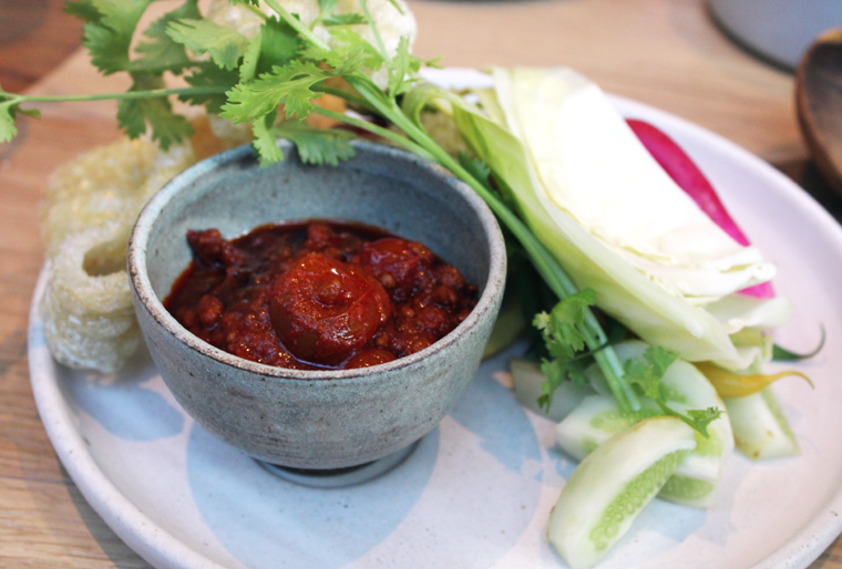 A fiery dip of pork and tomatoes to do with crudites.