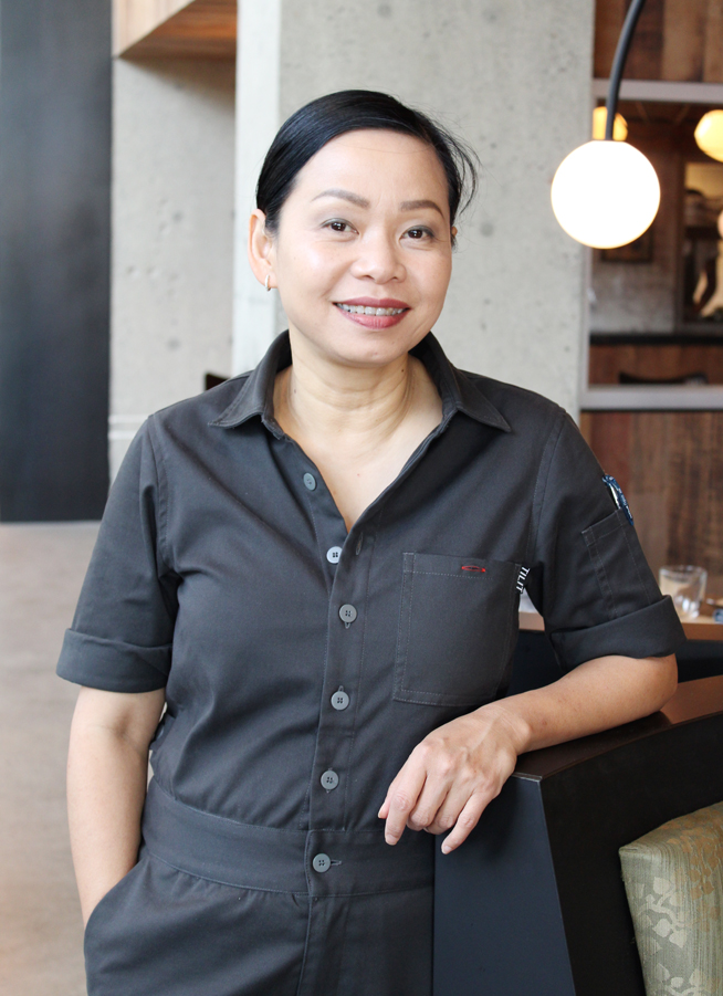 Restaurateur Pim Techamuanvivit in the dining room of her newest restaurant, Nari.
