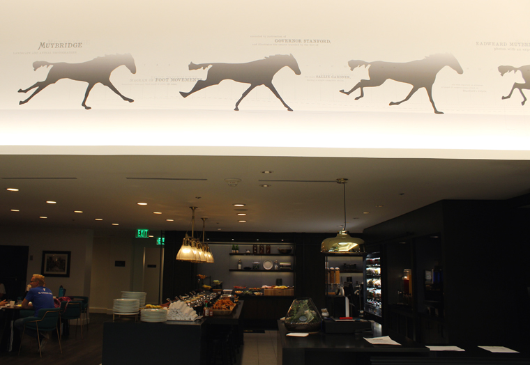 Depictions of horses owned by industrialist Leland Stanford decorate the lobby.