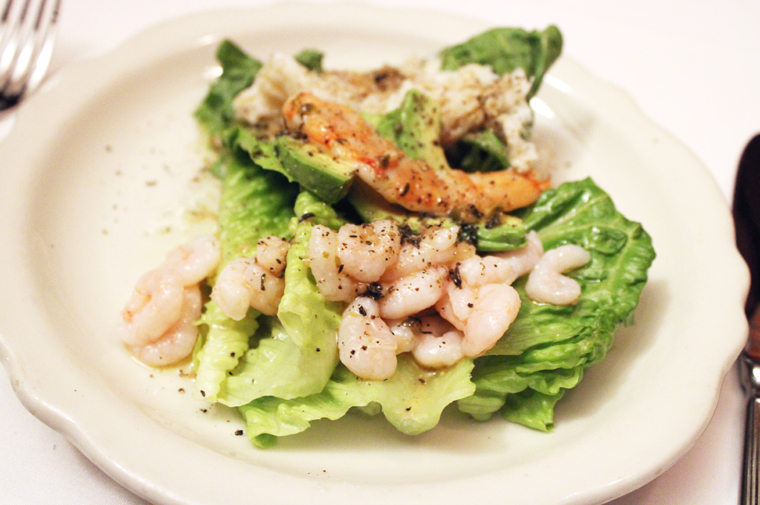 Romaine with bay shrimp and Dungeness.