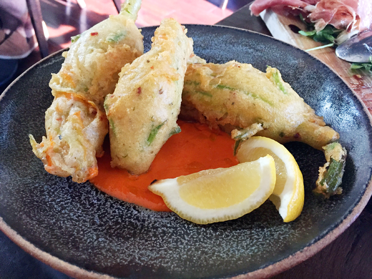 King-sized fried squash blossoms.