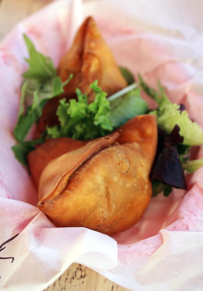 The larger vegetarian samosas.