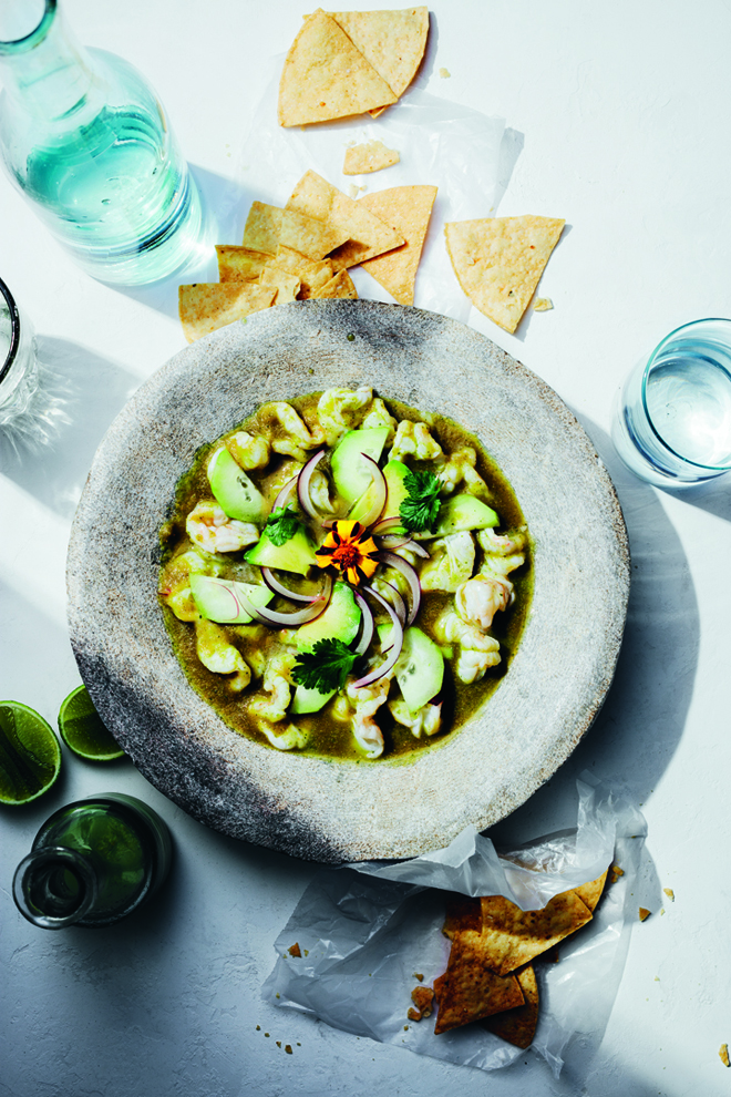 "Dominguez's refreshing ""Shrimp Aguachile.'' (Photo by Eva Kolenko)"