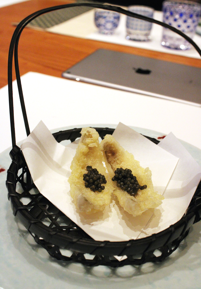 Fried kisu with caviar.