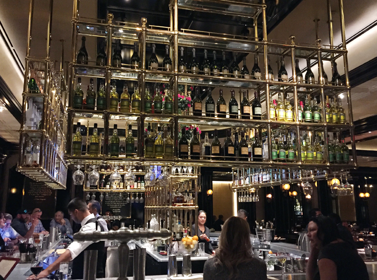 The impressive bar at Bardot Brasserie.