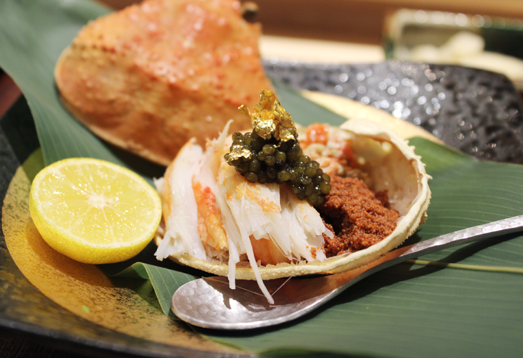 Snow crab with caviar and crab roe.