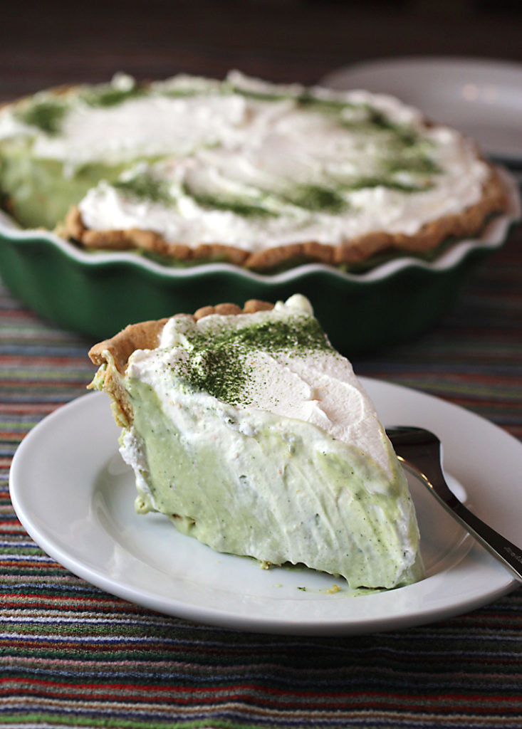 Beyond the tree and wreath, add a little more green to your holidays with this spectacular matcha cream pie.