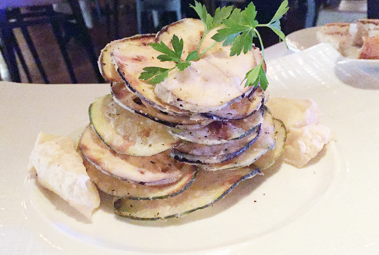 Fried zucchini and eggplant tower at Estiatario Milos.