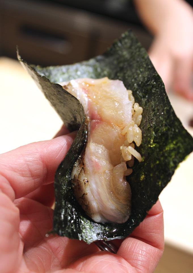 Sea perch hand roll.