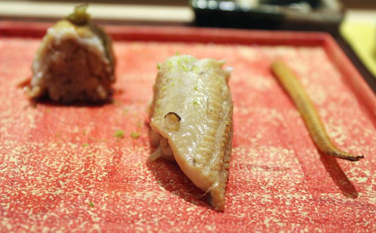 Conger eel prepared three ways.
