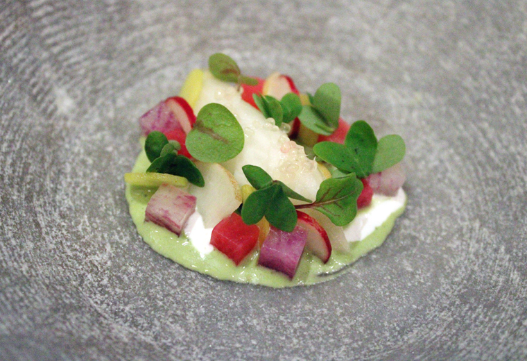 Served with this pretty dish of pickled radish and geoduck.