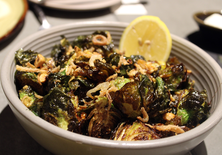Brussels sprouts glazed with balsamic vinegar.
