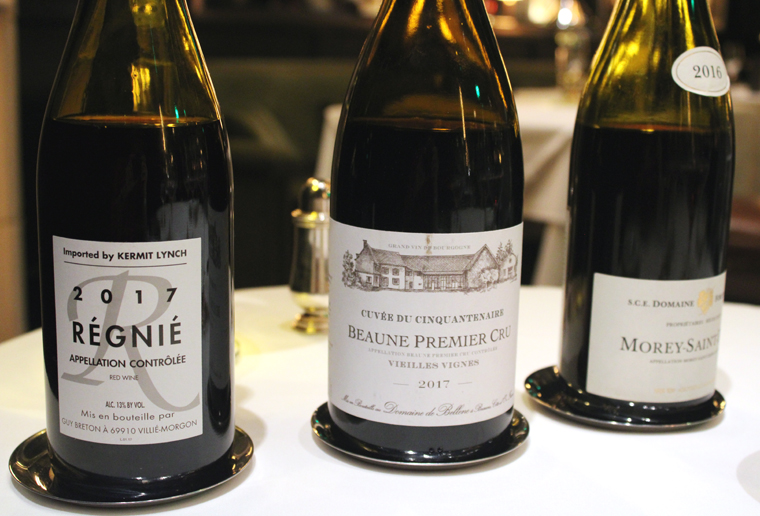 The three burgundies offered by the glass last Monday night.