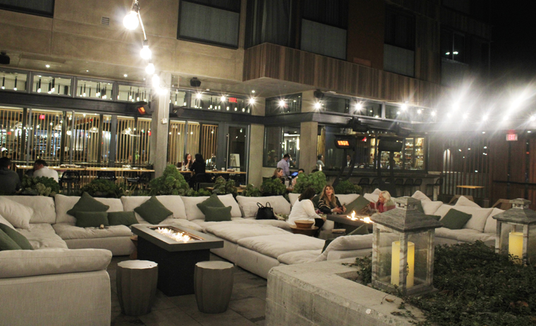 The lounge-y courtyard with fire-pit and heaters is a popular place to hang out.